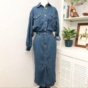 Harve Benard  |  Vintage Denim Midi Dress  | M